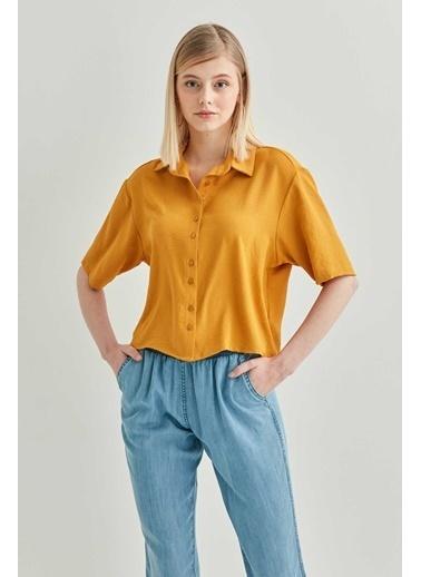 Vitrin VİTRİN Yakalı Kısa Kol Crop Gömlek Hardal